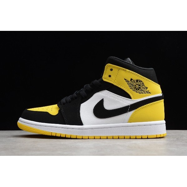 Men/Women New Release Air Jordan 1 Mid SE Yellow Toe Black Yellow
