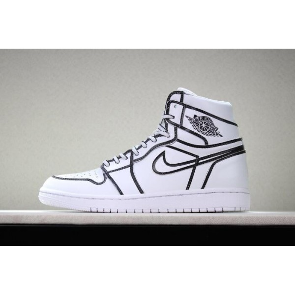 Men/Women Nike Air Jordan 1 Comic 3D Pencil White Hand-Painted