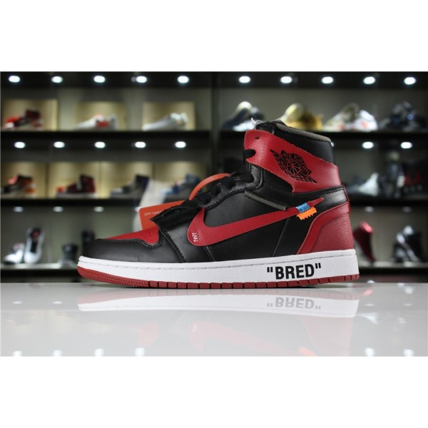 Men OFF-WHITE x Air Jordan 1 High OG 10X Bred Black Varsity Red-White