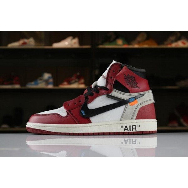 Men/Women OFF-WHITE x Air Jordan 1 Retro High OG 10X White Black-Varsity Red