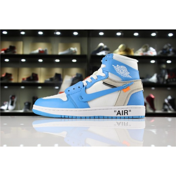 Men Off-White x Air Jordan 1 UNC White Dark Powder Blue-Cone