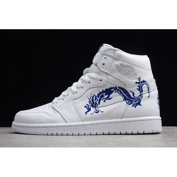 Men Air Jordan 1 High OG Dragon White Blue