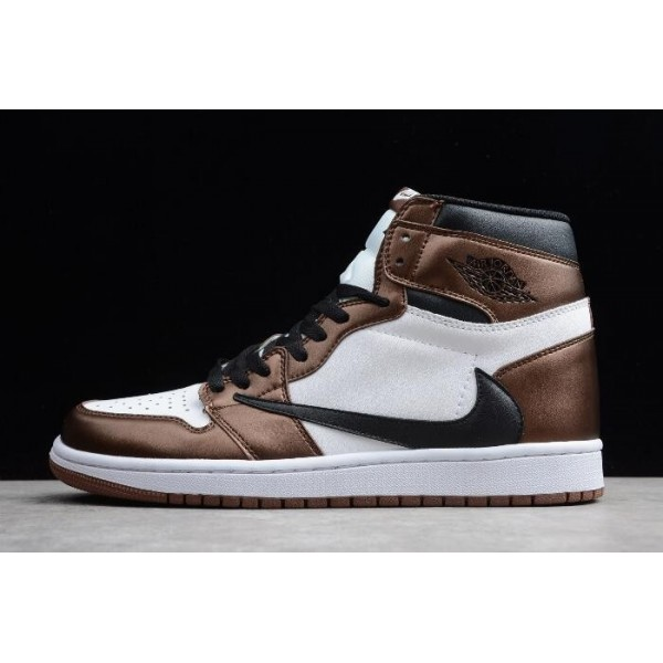 Men/Women Travis Scott x Air Jordan 1 High OG Bronze Black-White