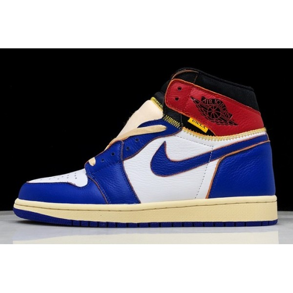 Men/Women Union x Air Jordan 1 Retro High OG NRG White Storm Blue-Varsity Red