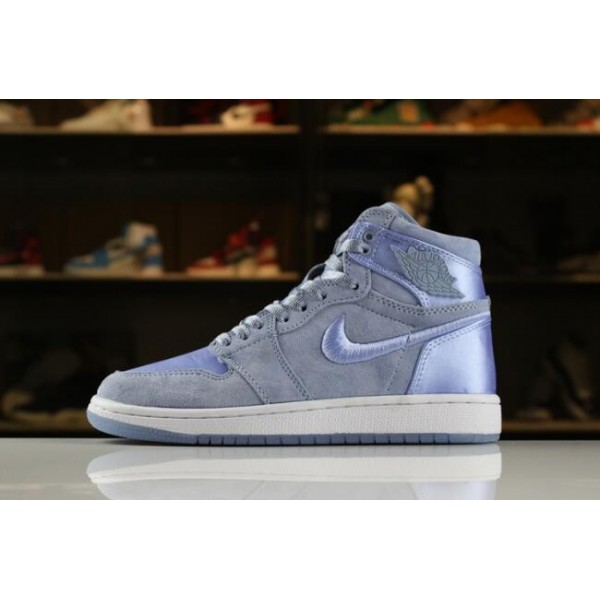 Women Air Jordan 1 Retro High SOH Hydrogen Blue White-Metallic Gold