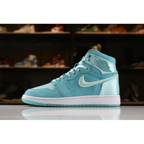 Women Air Jordan 1 Retro High SOH Light Aqua White-Metallic Gold