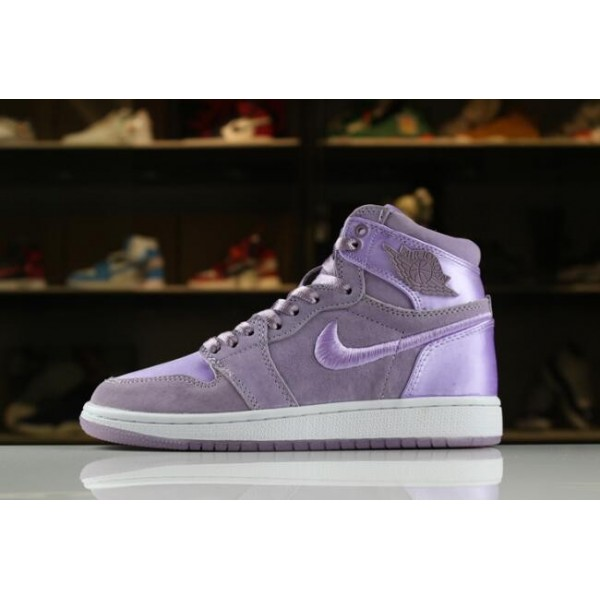 Women Air Jordan 1 Retro High SOH Orchid Mist White-Metallic