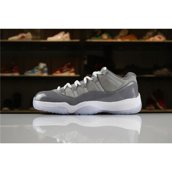 Men Air Jordan 11 Low Cool Grey Medium Grey-Gunsmoke-White
