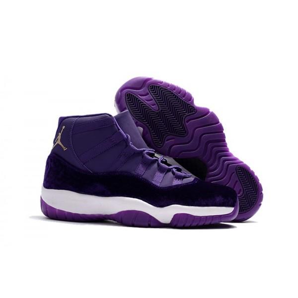 Men Air Jordan 11s Purple Velvet Shoes