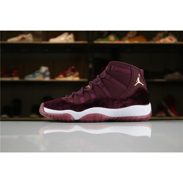 Men/Women Air Jordan 11 Heiress Red Velvet Night Maroon-Metallic Gold