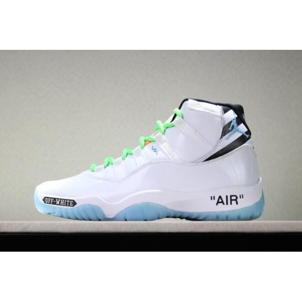 Men Custom Off-White x Air Jordan 11 White-Legend Blue-Black-Green