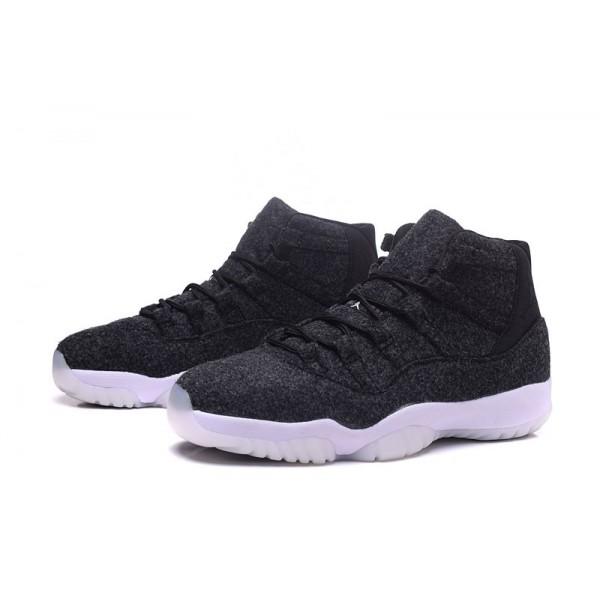 Men/Women Air Jordan 11 Wool Dark Grey-Metallic Silver-Black