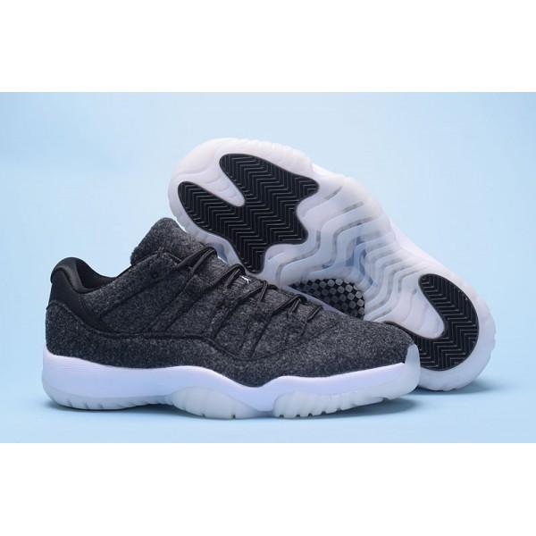 Men New Air Jordan 11 Low Wool Dark Grey-Metallic Silver-Black