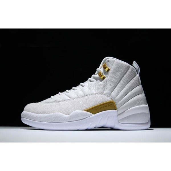 Men Air Jordan 12 OVO White-Metallic Gold-White