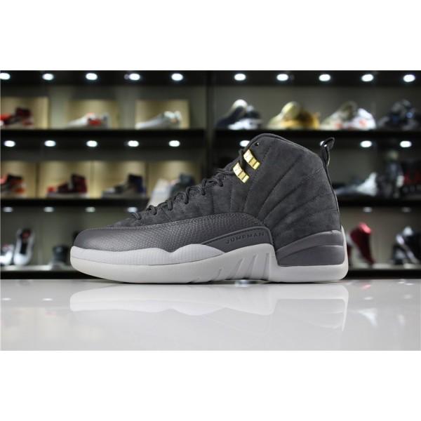 Men Air Jordan 12 Dark Grey-Wolf Grey
