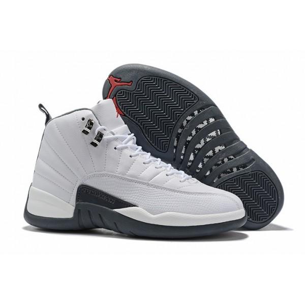 Men Air Jordan 12 Dark Grey White Gym Red