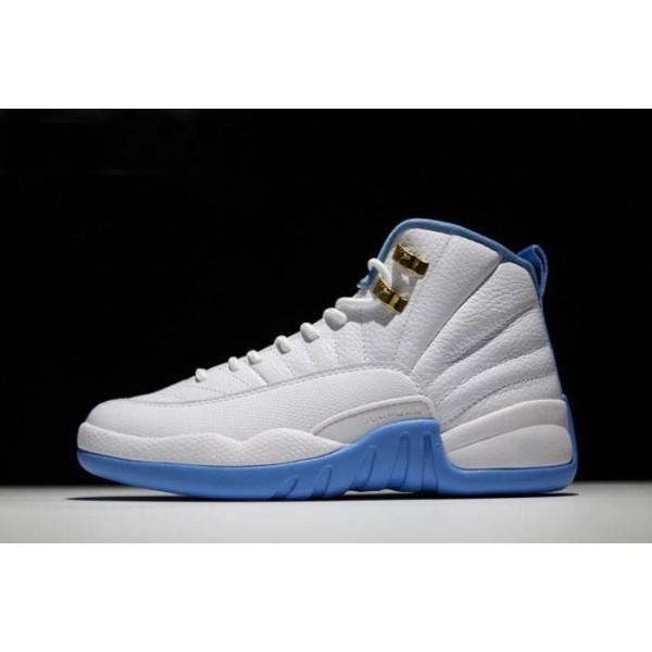 Men/Women Air Jordan 12 University Blue White-Metallic Blue