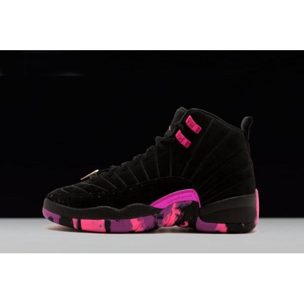 Men Air Jordan 12 Doernbecher Black-Hyper Violet-Pink Blast