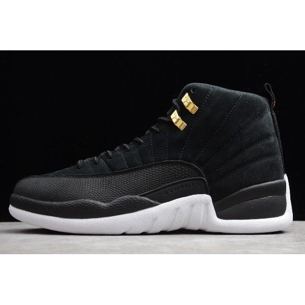 Men Air Jordan 12 Reverse Taxi Black White Shoes