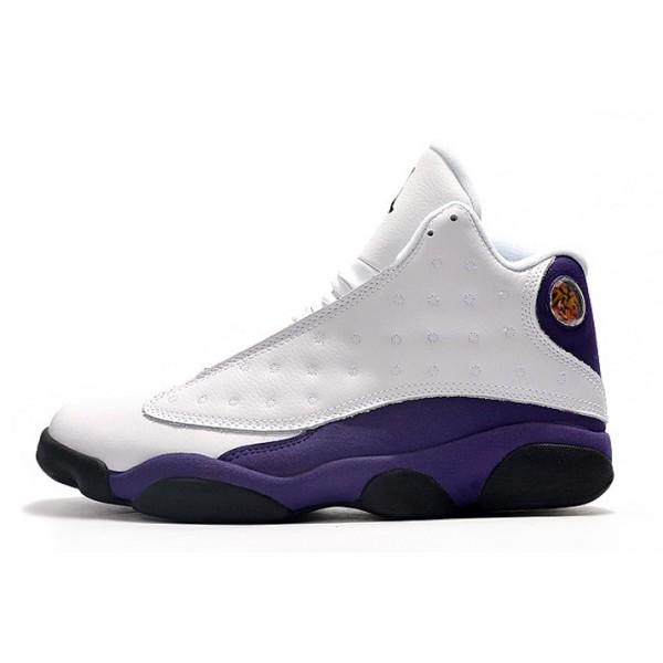 Men Air Jordan 13 Lakers White Purple Shoes