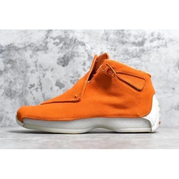 Men 2018 Air Jordan 18 Retro Orange Suede Campfire Orange-Sail
