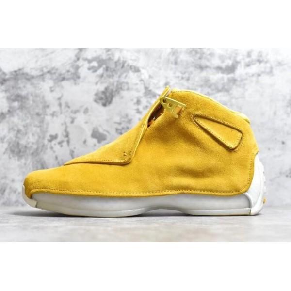 Men 2018 Air Jordan 18 Yellow Suede Yellow Ochre-Sail