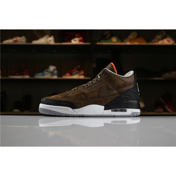 Men 2018 Air Jordan 3 JTH NRG Coffee Brown Black-White