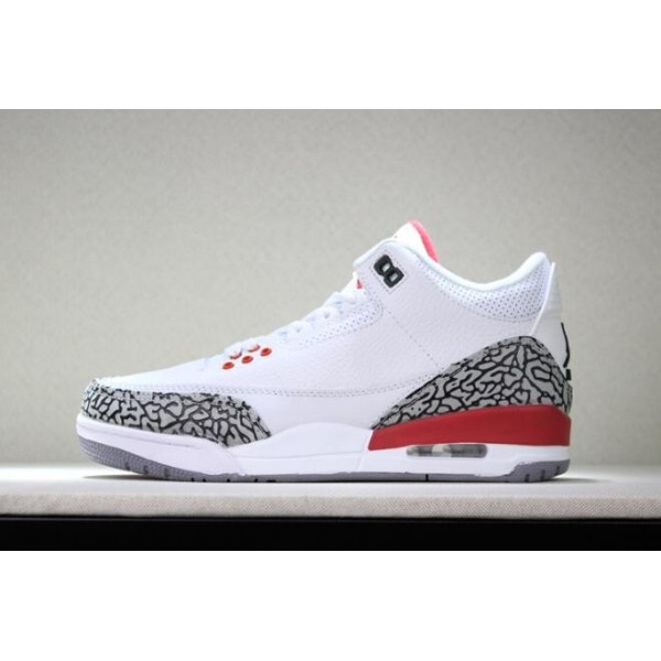 Men 2018 Air Jordan 3 Katrina White Cement Grey-Black-Fire Red