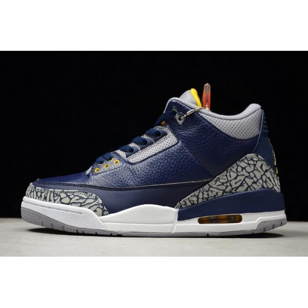 Men 2018 Air Jordan 3 Retro Michigan PE Cement Gre