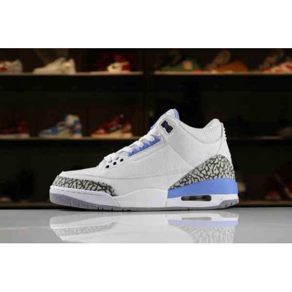 Men 2018 Air Jordan 3 UNC PE White White-Blue