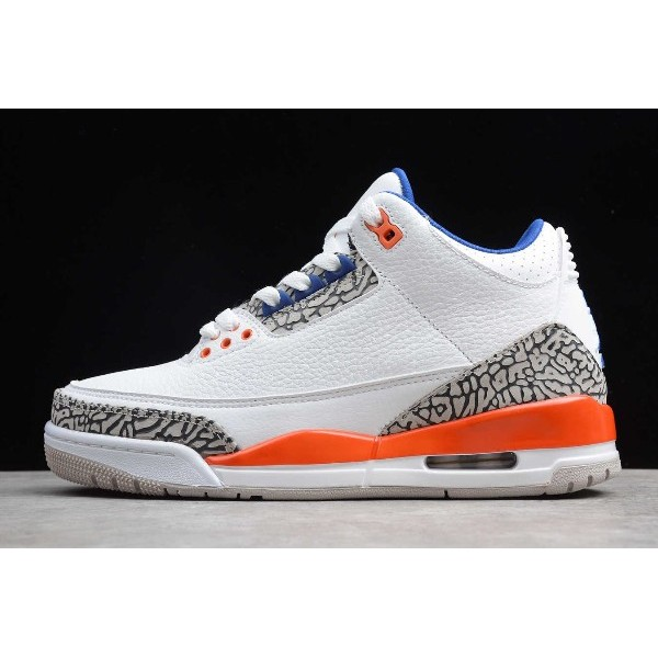 Men 2020 Air Jordan 3 Knicks Royal Blue Orange