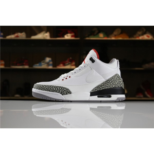 Men Air Jordan 3 JTH White White-Fire Red-Black