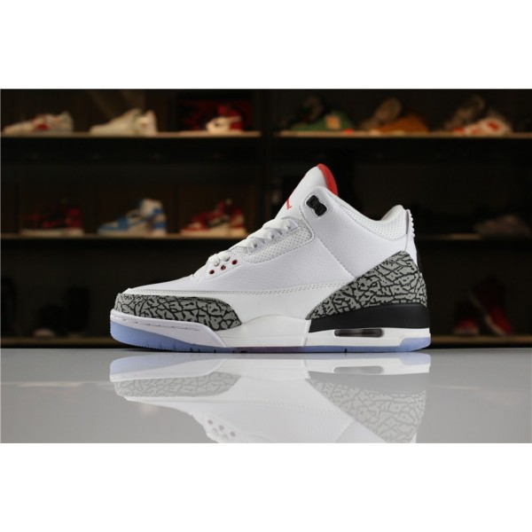 Men Air Jordan 3 NRG Free Throw Line White Black-Fire Red