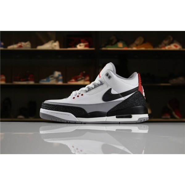 Men Air Jordan 3 Tinker White Fire Red-Cement Grey-Black