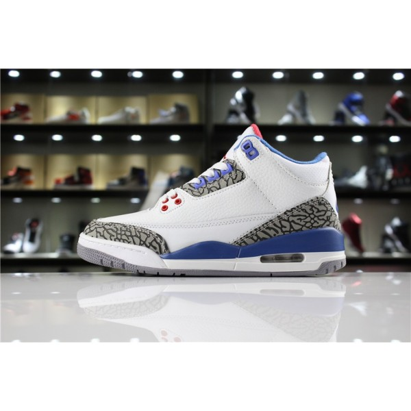 Men/Women Air Jordan 3 True Blue White Fire Red-True Blue