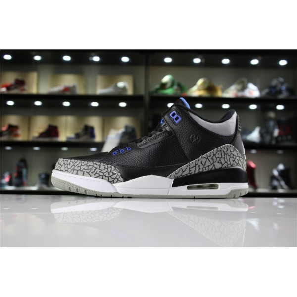 Men Fragment Design x Air Jordan 3 Retro Black Royal Blue-White