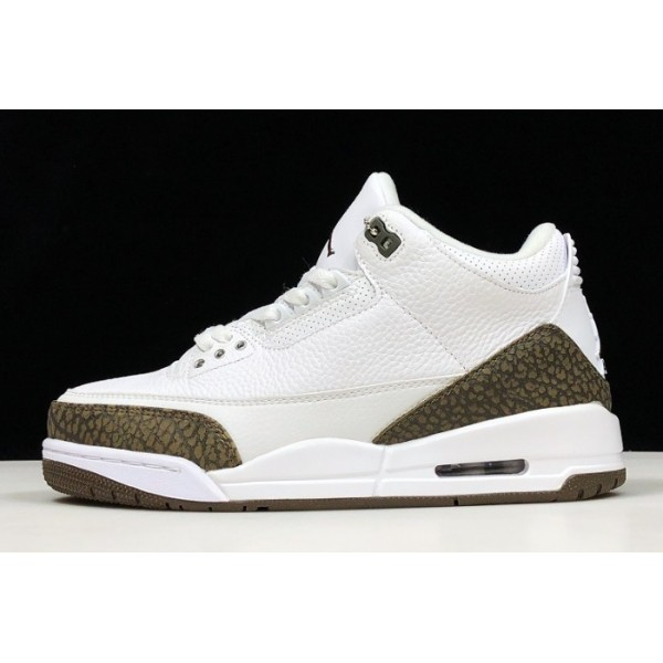 Men New Air Jordan 3 Retro Mocha White Chrome-Dark Moch