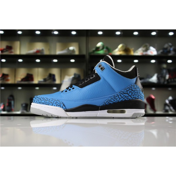 Men/Women New Air Jordan 3 Retro Powder Blue Dark Powder Blue Black