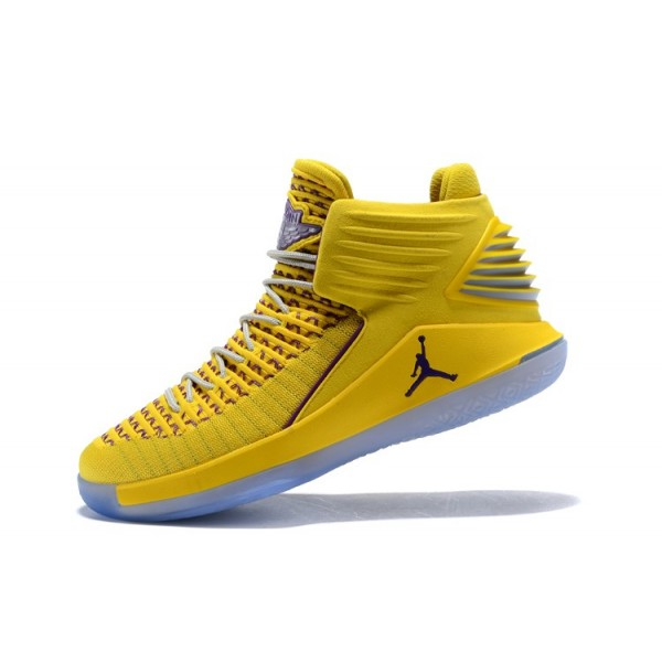 Men New Air Jordan 32 Warriors Yellow Light Purple