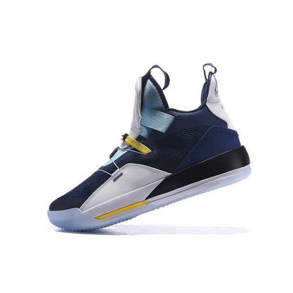 Men 2018 Air Jordan 33 Navy Blue-White-Mint Green-Yellow