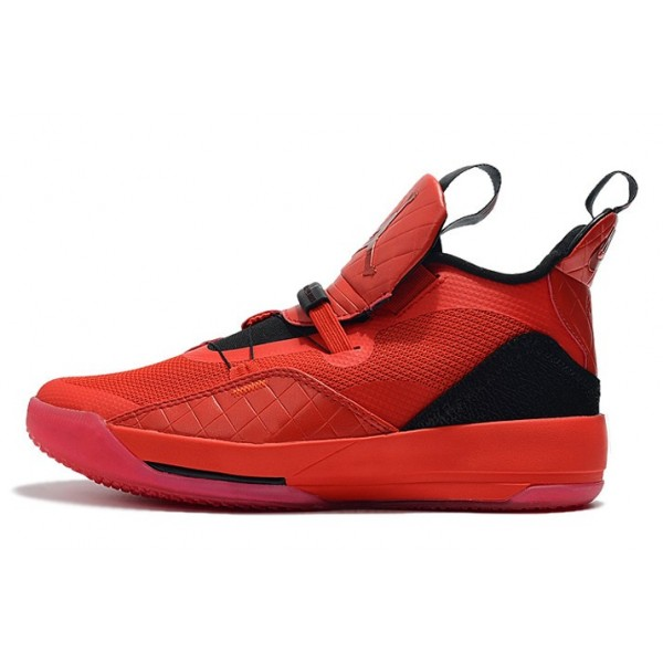 Men 2019 Air Jordan 33 University Red-Black-Sail-White