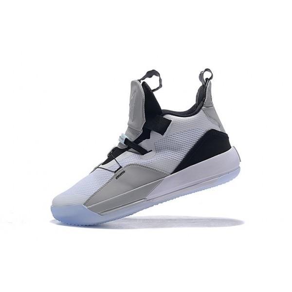 Men Air Jordan 33 White-Grey-Black