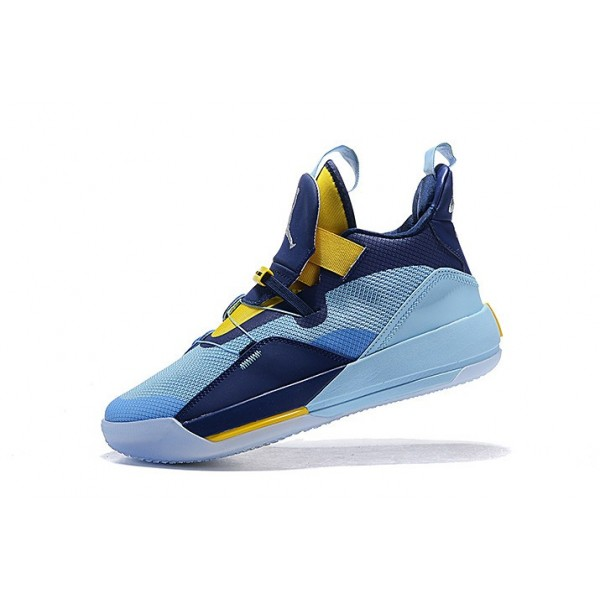 Men Air Jordan 33 Mint Green-Navy Blue-Yellow