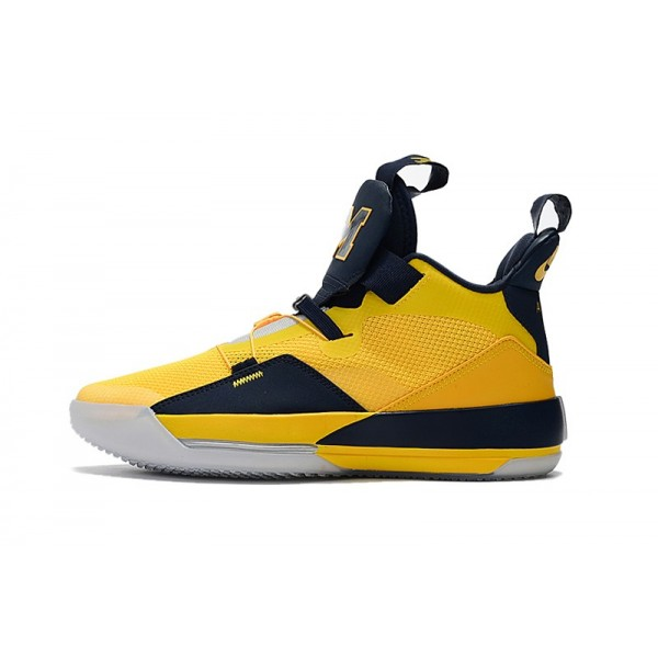 Mens Air Jordan 33 Michigan PE Yellow-Navy Blue