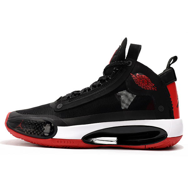 Men 2020 Air Jordan 34 Black-Varsity Red-White
