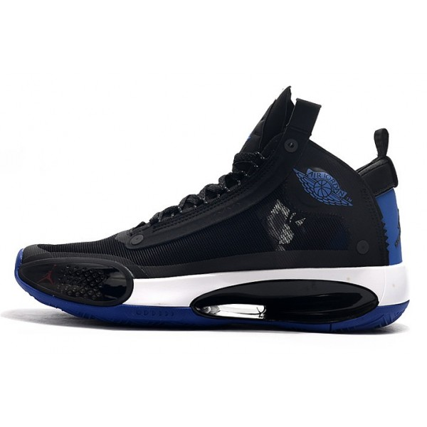 Men Air Jordan 34 Black-Royal Blue-White True