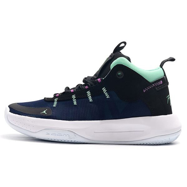 Men Air Jordan 34 Low Navy Blue Purple-White