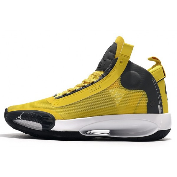 Men Air Jordan 34 Yellow-Grey-White Release