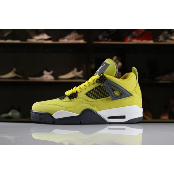 Men Air Jordan 4 Lightning Tour Yellow Dark Blue-Grey-White
