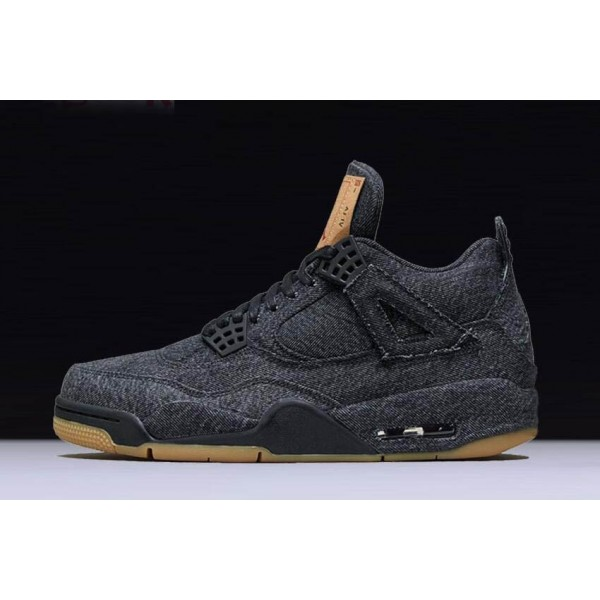 Men Levis x Air Jordan 4 Black Denim AO2571-001 Shoes